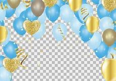 Ballons bleus, salutation de Jour de la Déclaration d'Indépendance de conception de l'avant-projet de confettis Photographie stock libre de droits