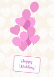Ballons card with seamless pattern from balloons.Celebration fes Royalty Free Stock Images