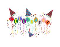 Ballons with Celebrate on them for you. Colored balloons with celebrate on them, with confetti and streamers falling, around them with party hats Royalty Free Stock Image