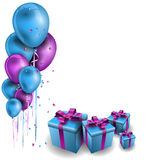 Ballons colorés avec des cadeaux Photos stock