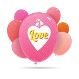 Ballons colorés d'amour Images libres de droits
