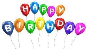 Ballons colorés de joyeux anniversaire Images stock