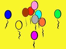 Ballons colorés espiègles jaunes à sourire environ illustration de vecteur