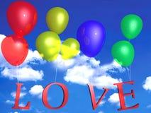 Ballons colorés et amour Photographie stock