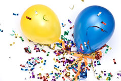Ballons and confetti stock image