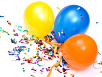 Ballons and confetti Stock Photography
