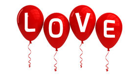 Ballons d'AMOUR, d'isolement, rouges Photographie stock