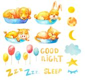 Ballons d'animaux de sommeil d'ensemble de collection, lunes dans la phase différente, texte Zzz Bonne nuit illustration stock