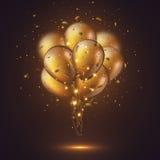 Ballons 3D d'or brillants réalistes Photographie stock