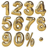 Ballons d'or des nombres et des symboles de pourcentage Photographie stock
