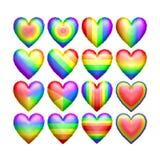 Ballons d'isolement de forme de coeur de couleur d'arc-en-ciel Photos stock