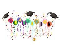 Ballons da graduação para a ilustração da celebração Fotografia de Stock Royalty Free