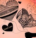 Ballons dans la forme du coeur Fond orange-clair Illustration Stock