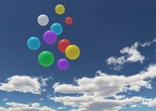 Ballons dans le ciel bleu Photos stock