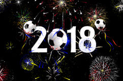 Ballons 2018 de ballon de football de nouvelle année Photo libre de droits