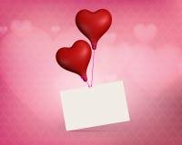 Ballons de coeur de jour de valentines avec la carte Image stock