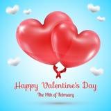 Ballons de coeurs avec le texte de jour de valentines Images libres de droits