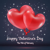 Ballons de coeurs avec le texte de jour de valentines Photographie stock