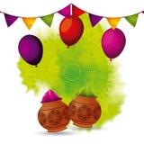 Ballons de couleur de poudre de Gulal et décoration de guirlande Photos libres de droits
