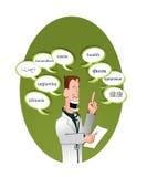 Ballons de docteur et de textes indiquant la santé (multilingu illustration stock