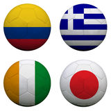Ballons de football avec des équipes du groupe C Images libres de droits