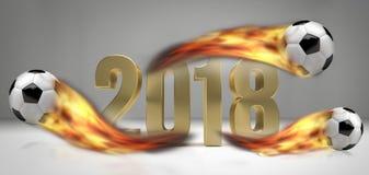 Ballons de football du football le football brûlant de 2018 flammes du feu Photo stock