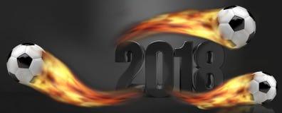 Ballons de football du football le football brûlant de 2018 flammes du feu Photographie stock