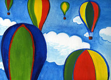 Ballons in de hemel Stock Afbeeldingen