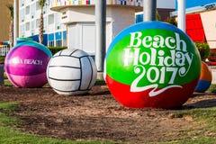 Ballons de plage concrets sur Virginia Beach Boardwalk Images libres de droits