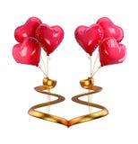 Ballons de rouge de jour du ` s de Valentine Photo libre de droits