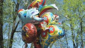 Ballons in de verschillende vormen stock videobeelden