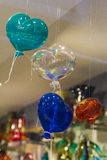 Ballons in de vorm van het glas van hartenmurano Stock Foto