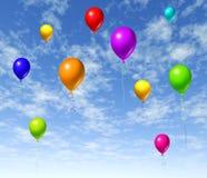 Ballons die in de hemel vliegen Stock Afbeelding