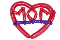 Ballons die in mammatekst worden gevormd in hert royalty-vrije stock afbeeldingen