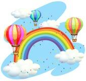 Ballons die over de regenboog vliegen Stock Afbeeldingen