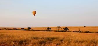Ballons do ar quente sobre o parque de jogo de mara do Masai imagem de stock