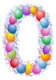 Ballons en confettien Nummer 0 vector illustratie