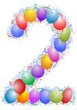 Ballons en confettien Nummer 2 Stock Afbeeldingen