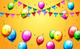 Ballons en confettien voor partijenverjaardag Stock Afbeeldingen