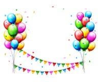 Ballons en confettien voor partijenverjaardag Royalty-vrije Stock Foto