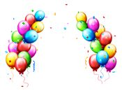 Ballons en confettien voor partijenverjaardag Royalty-vrije Stock Foto's