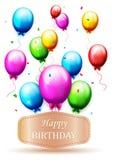 Ballons en confettien voor partijenverjaardag Stock Fotografie