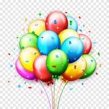 Ballons en confettien voor partijenverjaardag Royalty-vrije Stock Afbeelding