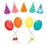 Ballons en de reeks van de partijhoed Stock Afbeeldingen