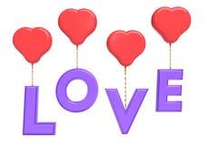 Ballons en forme de coeur portant le rendu des textes 3d d'amour Image libre de droits