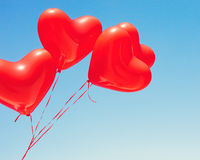 Ballons en forme de coeur rouges Photos stock