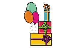 Ballons en giften Royalty-vrije Stock Afbeeldingen