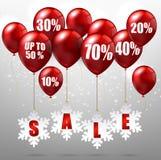 Ballons en kortingen op verkoopachtergrond vector illustratie