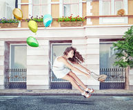 Ballons en mooi meisje Royalty-vrije Stock Foto's