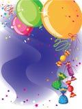 Ballons en suikergoedkaart Stock Foto's